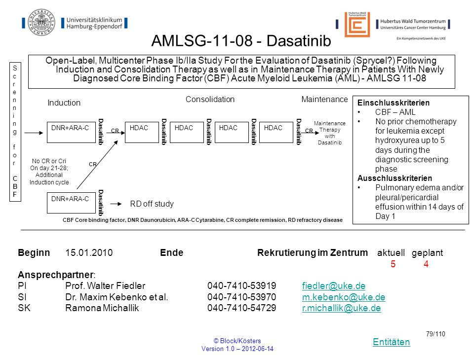 Entitäten © Block/Kösters Version 1.0 – 2012-06-14 79/110 AMLSG-11-08 - Dasatinib Open-Label, Multicenter Phase Ib/IIa Study For the Evaluation of Das