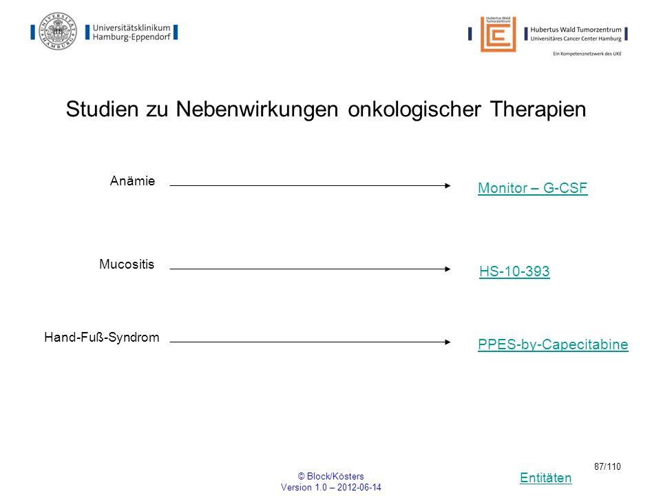 Entitäten © Block/Kösters Version 1.0 – 2012-06-14 87/110 Studien zu Nebenwirkungen onkologischer Therapien Mucositis HS-10-393 Anämie Monitor – G-CSF