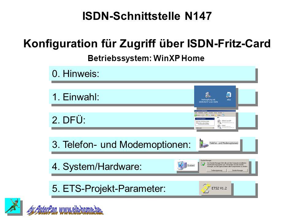 2. DFÜ: 3. Telefon- und Modemoptionen: 4. System/Hardware: 5.