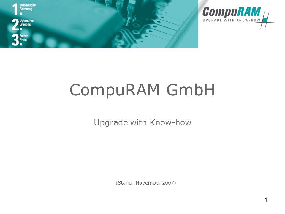 2 Firmenprofil Seit der Unternehmensgründung 1997 ist CompuRAM spezialisiert auf die herstellerunabhängige Distribution und den Vertrieb von Memory-Komponenten im Business-to-Business-Bereich Der Unternehmensfokus liegt auf der Qualität der umfangreichen Produktpalette und der Professionalität im Bereich Service und Support.