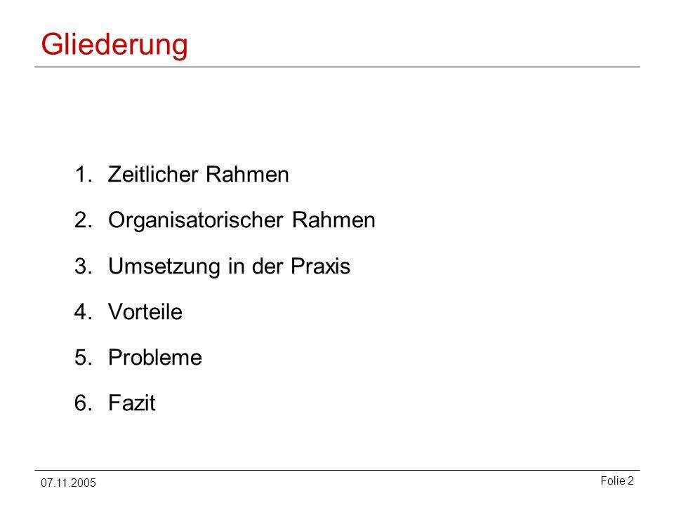 07.11.2005 Folie 2 Gliederung 1.Zeitlicher Rahmen 2.Organisatorischer Rahmen 3.Umsetzung in der Praxis 4.Vorteile 5.Probleme 6.Fazit