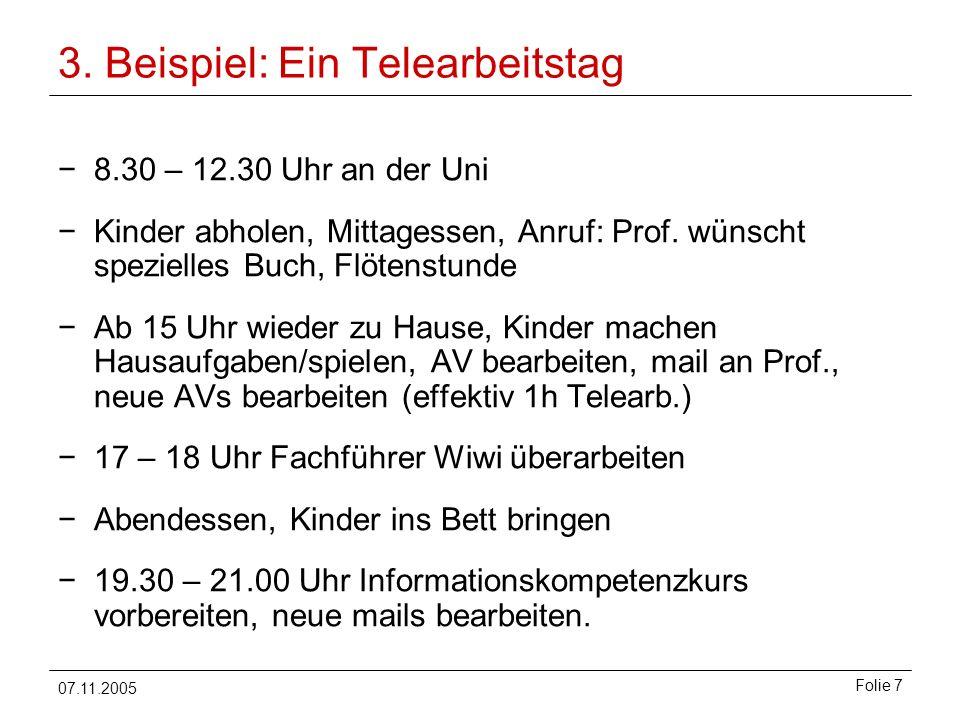 07.11.2005 Folie 7 3. Beispiel: Ein Telearbeitstag 8.30 – 12.30 Uhr an der Uni Kinder abholen, Mittagessen, Anruf: Prof. wünscht spezielles Buch, Flöt