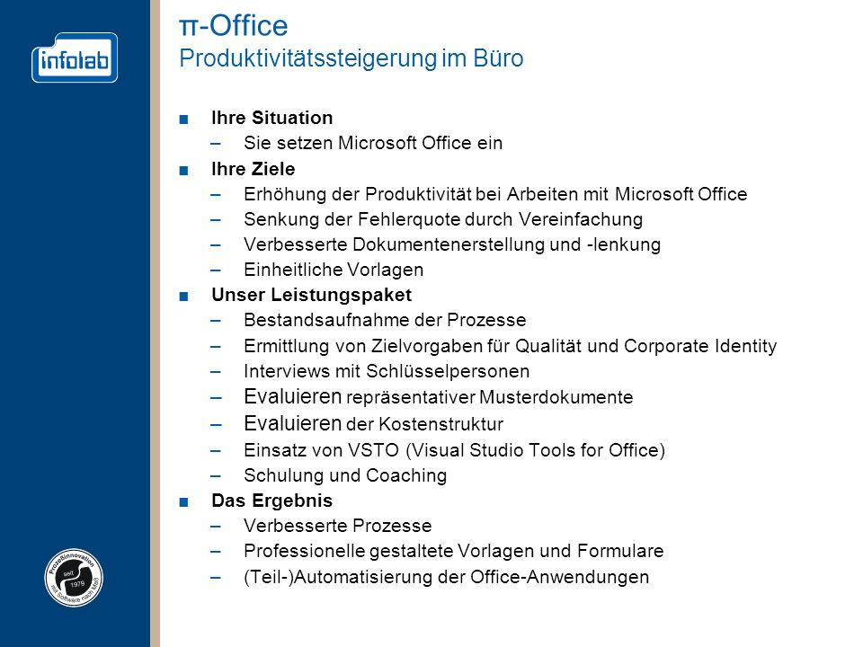 π-Office Produktivitätssteigerung im Büro Ihre Situation –Sie setzen Microsoft Office ein Ihre Ziele –Erhöhung der Produktivität bei Arbeiten mit Micr