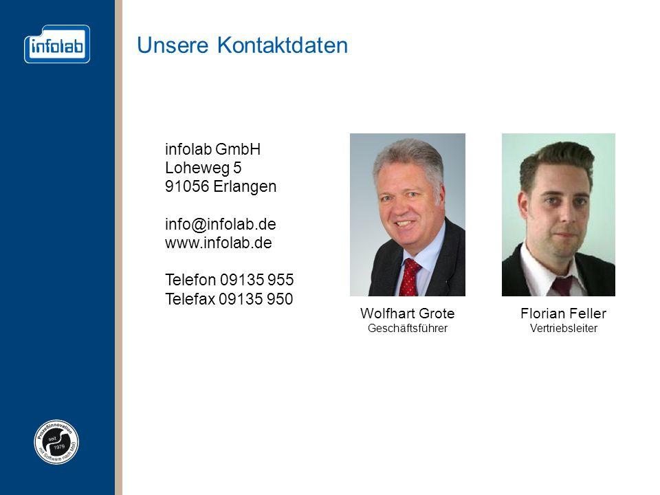 Unsere Kontaktdaten Wolfhart Grote Geschäftsführer infolab GmbH Loheweg 5 91056 Erlangen info@infolab.de www.infolab.de Telefon 09135 955 Telefax 0913
