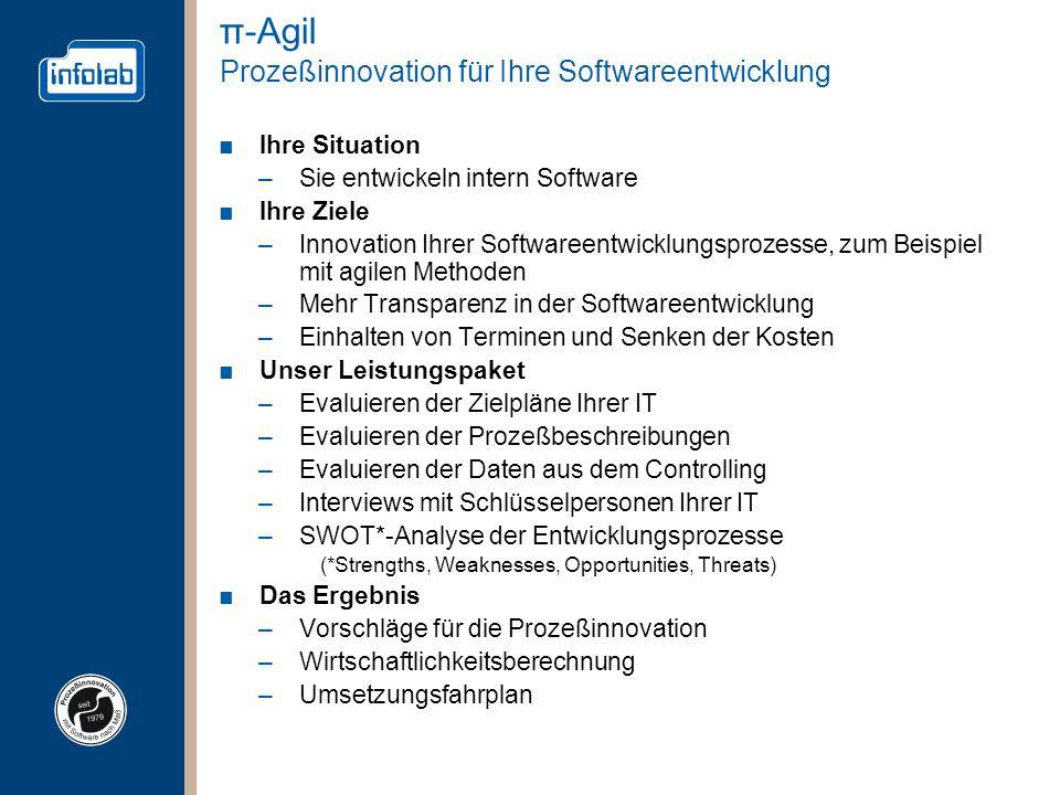 π-Agil Prozeßinnovation für Ihre Softwareentwicklung Ihre Situation –Sie entwickeln intern Software Ihre Ziele –Innovation Ihrer Softwareentwicklungsp