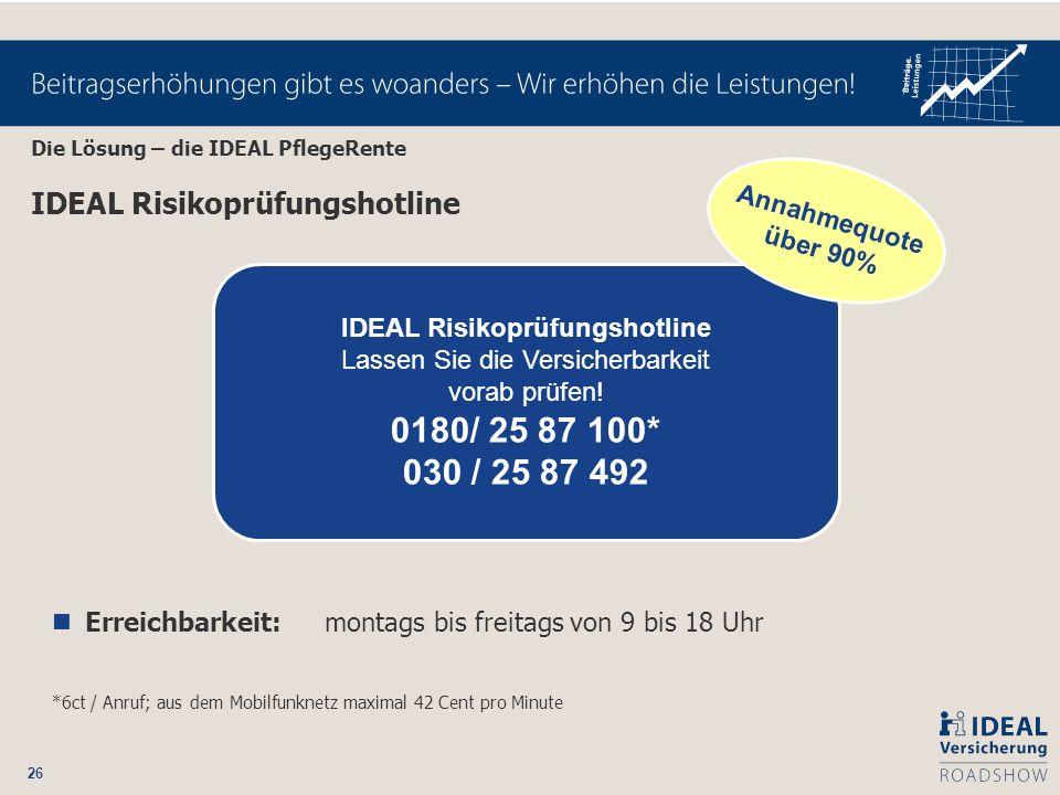 26 IDEAL Risikoprüfungshotline Erreichbarkeit: montags bis freitags von 9 bis 18 Uhr *6ct / Anruf; aus dem Mobilfunknetz maximal 42 Cent pro Minute ID