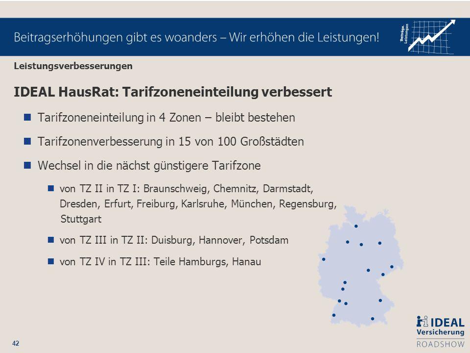 42 IDEAL HausRat: Tarifzoneneinteilung verbessert Tarifzoneneinteilung in 4 Zonen – bleibt bestehen Tarifzonenverbesserung in 15 von 100 Großstädten W