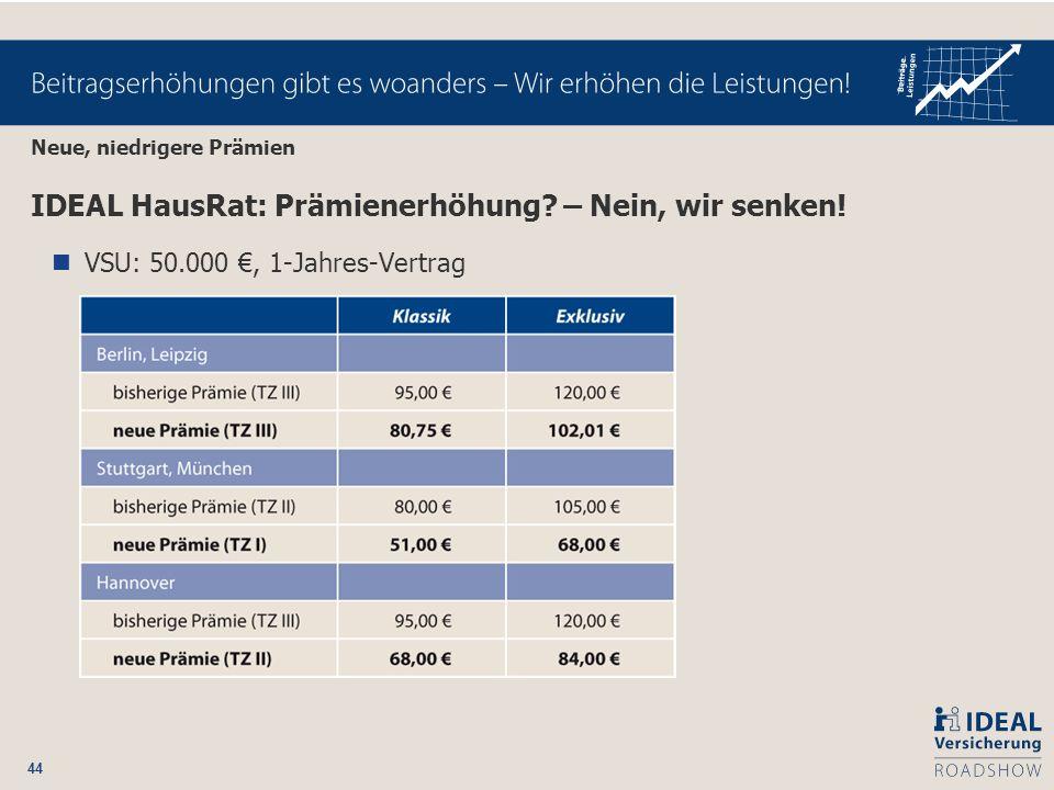 44 Neue, niedrigere Prämien IDEAL HausRat: Prämienerhöhung? – Nein, wir senken! VSU: 50.000, 1-Jahres-Vertrag