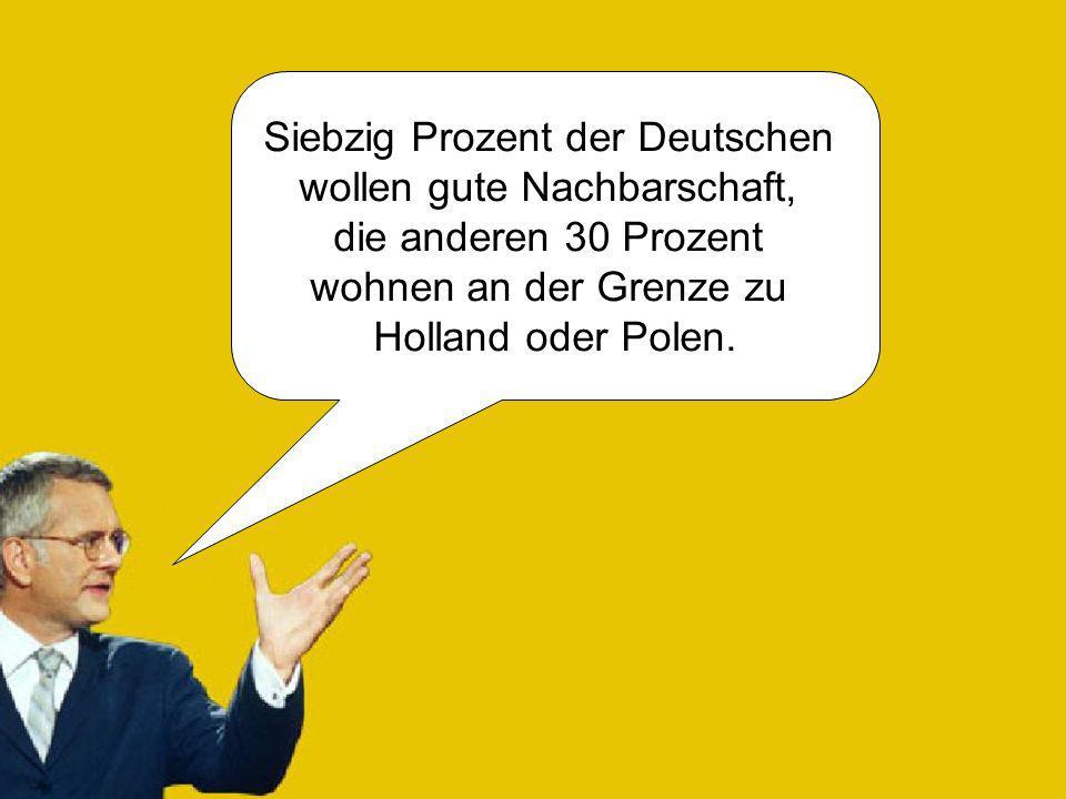 Siebzig Prozent der Deutschen wollen gute Nachbarschaft, die anderen 30 Prozent wohnen an der Grenze zu Holland oder Polen.