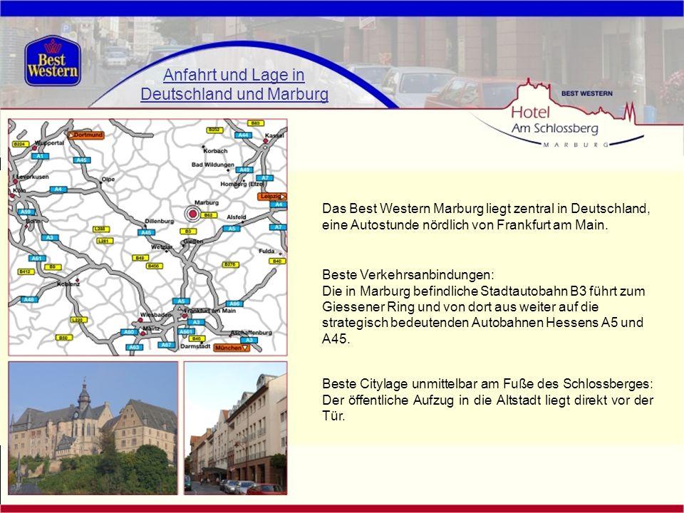 Anfahrt und Lage in Deutschland und Marburg Das Best Western Marburg liegt zentral in Deutschland, eine Autostunde nördlich von Frankfurt am Main. Die