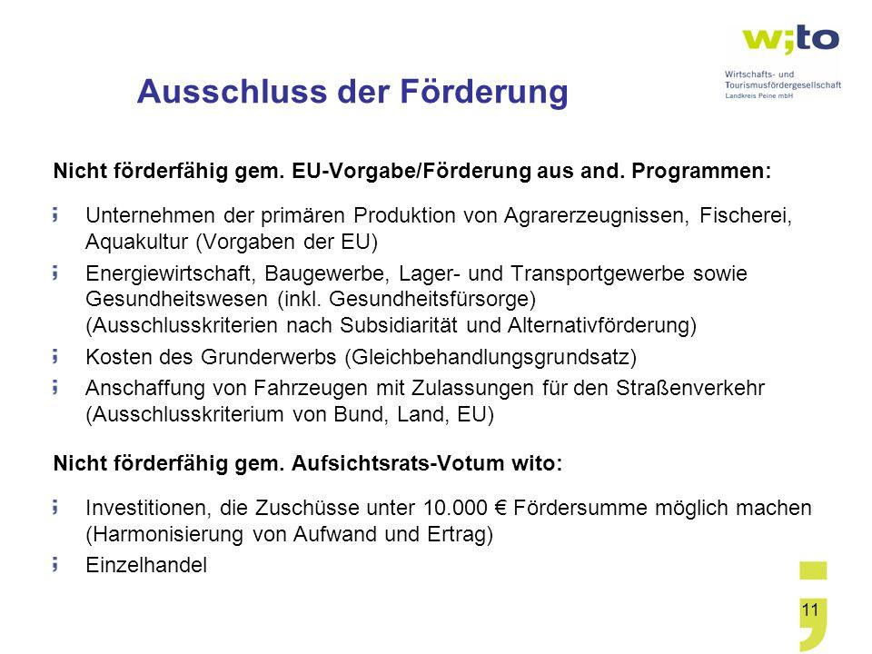 11 Ausschluss der Förderung Nicht förderfähig gem. EU-Vorgabe/Förderung aus and. Programmen: Unternehmen der primären Produktion von Agrarerzeugnissen