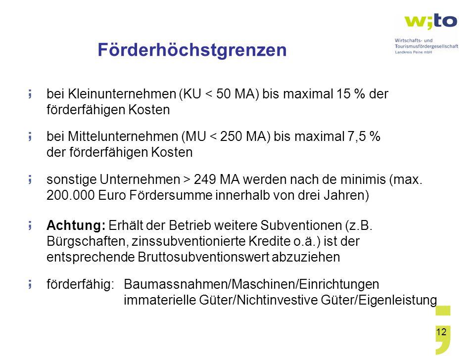 12 Förderhöchstgrenzen bei Kleinunternehmen (KU < 50 MA) bis maximal 15 % der förderfähigen Kosten bei Mittelunternehmen (MU < 250 MA) bis maximal 7,5