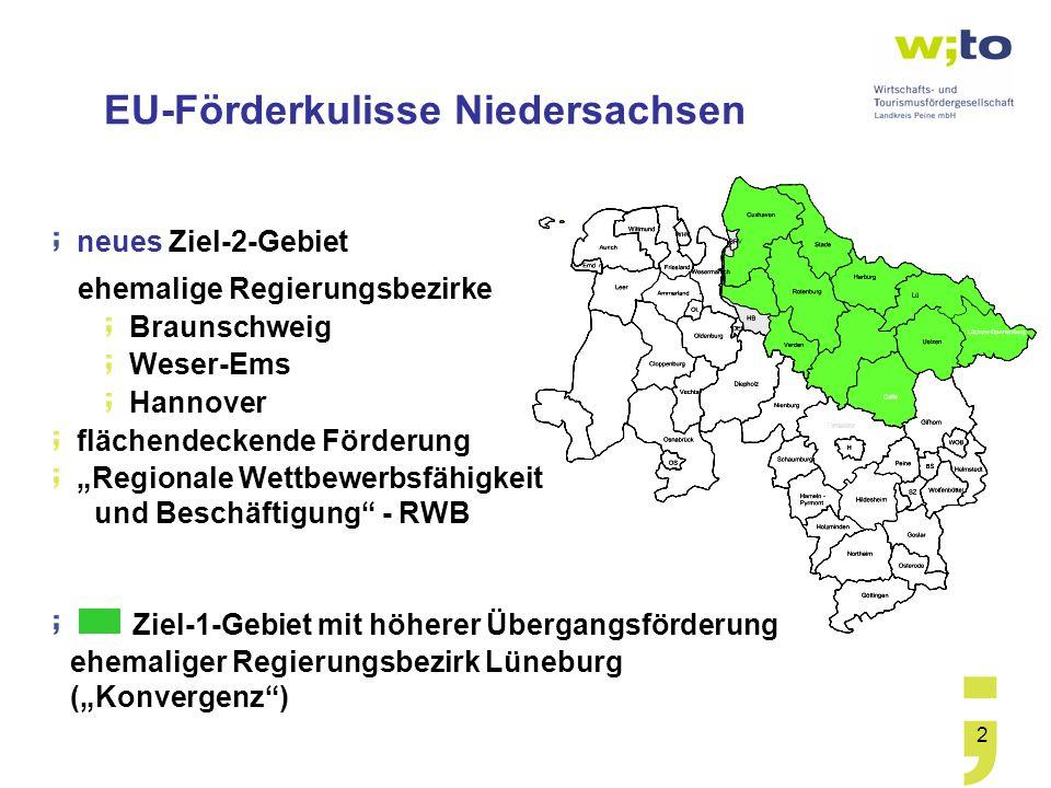 2 neues Ziel-2-Gebiet ehemalige Regierungsbezirke Braunschweig Weser-Ems Hannover flächendeckende Förderung Regionale Wettbewerbsfähigkeit und Beschäf