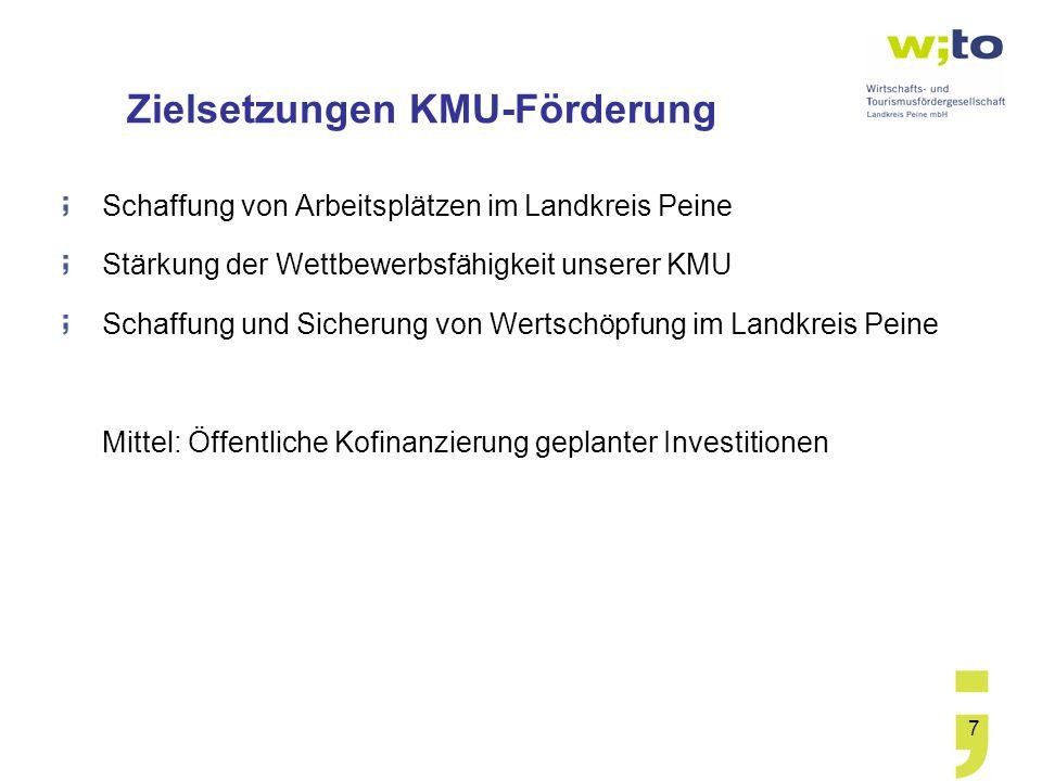 7 Zielsetzungen KMU-Förderung Schaffung von Arbeitsplätzen im Landkreis Peine Stärkung der Wettbewerbsfähigkeit unserer KMU Schaffung und Sicherung vo