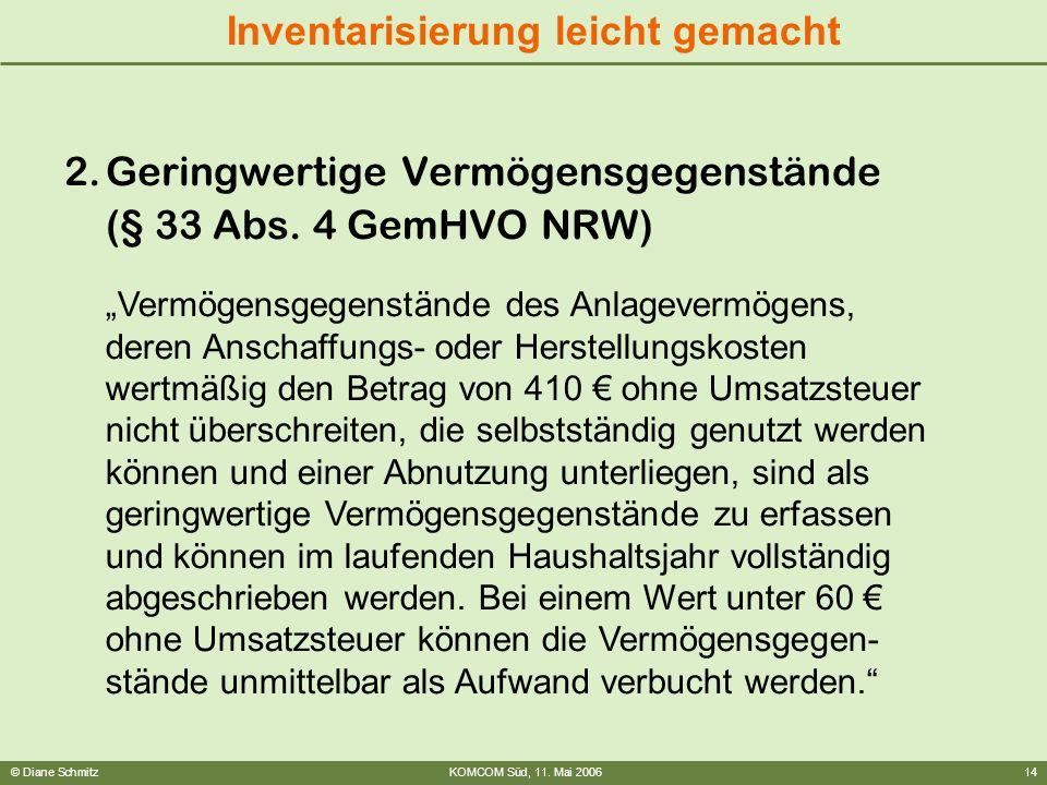 © Diane SchmitzKOMCOM Süd, 11. Mai 200614 Inventarisierung leicht gemacht 2.Geringwertige Vermögensgegenstände (§ 33 Abs. 4 GemHVO NRW) Vermögensgegen