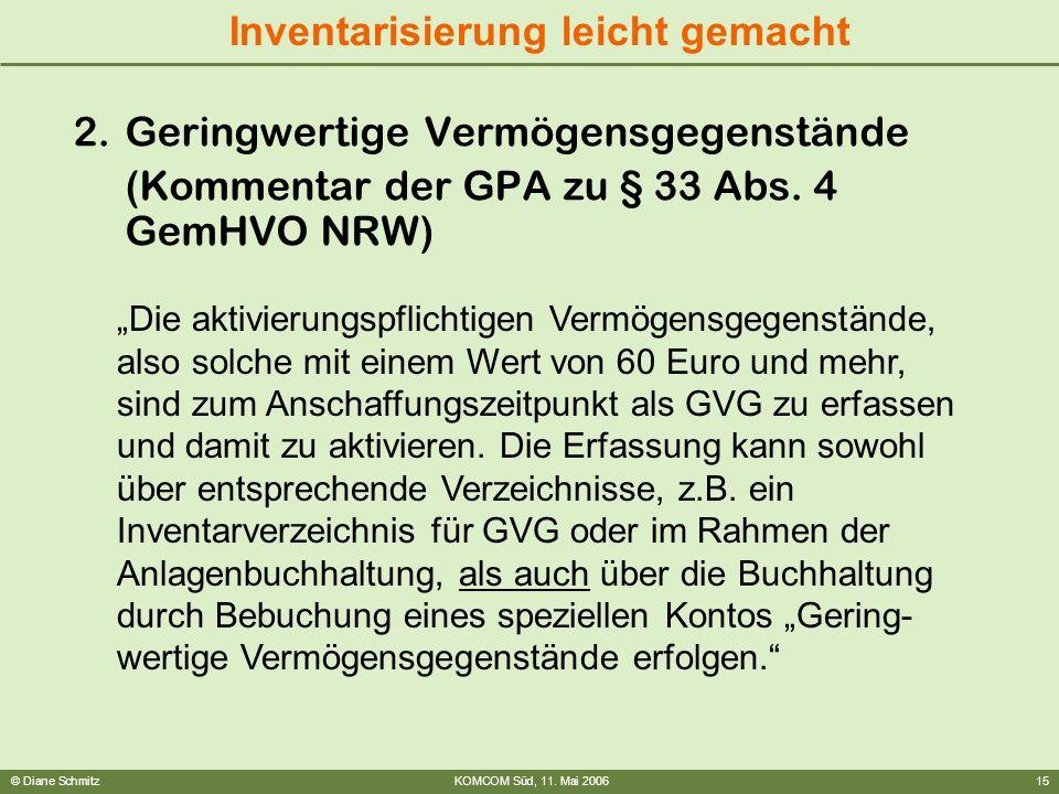 © Diane SchmitzKOMCOM Süd, 11. Mai 200615 Inventarisierung leicht gemacht 2.Geringwertige Vermögensgegenstände (Kommentar der GPA zu § 33 Abs. 4 GemHV