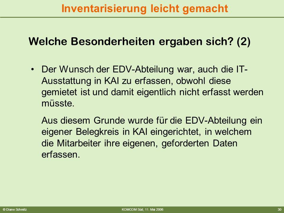 © Diane SchmitzKOMCOM Süd, 11. Mai 200630 Inventarisierung leicht gemacht Der Wunsch der EDV-Abteilung war, auch die IT- Ausstattung in KAI zu erfasse