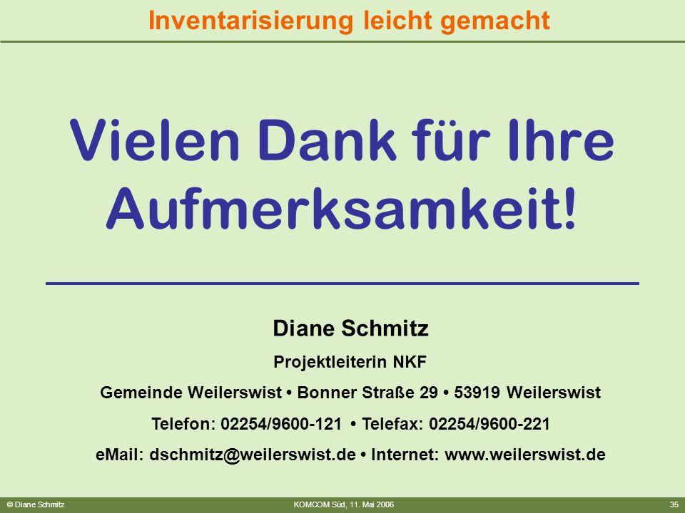 © Diane SchmitzKOMCOM Süd, 11. Mai 200635 Inventarisierung leicht gemacht Vielen Dank für Ihre Aufmerksamkeit! Diane Schmitz Projektleiterin NKF Gemei