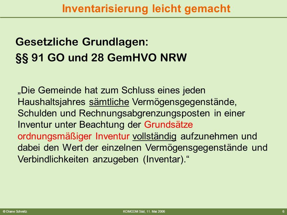 © Diane SchmitzKOMCOM Süd, 11. Mai 20066 Inventarisierung leicht gemacht Gesetzliche Grundlagen: §§ 91 GO und 28 GemHVO NRW Die Gemeinde hat zum Schlu