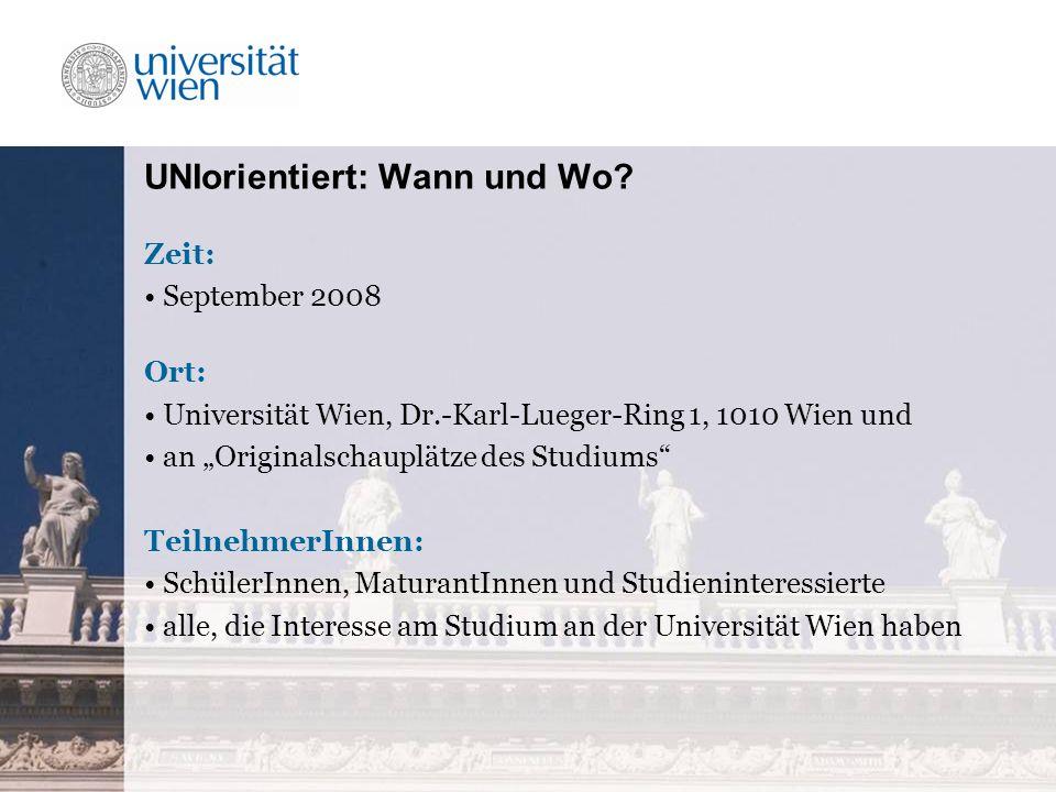 UNIorientiert: Wann und Wo.