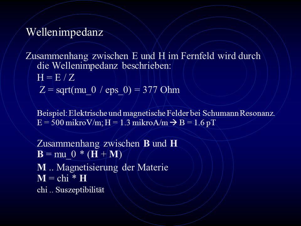 Wellenimpedanz Zusammenhang zwischen E und H im Fernfeld wird durch die Wellenimpedanz beschrieben: H = E / Z Z = sqrt(mu_0 / eps_0) = 377 Ohm Beispiel: Elektrische und magnetische Felder bei Schumann Resonanz.