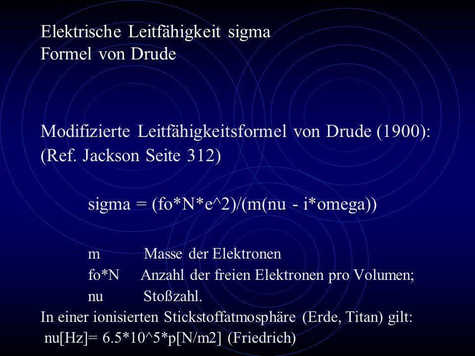 Elektrische Leitfähigkeit sigma Formel von Drude Modifizierte Leitfähigkeitsformel von Drude (1900): (Ref.