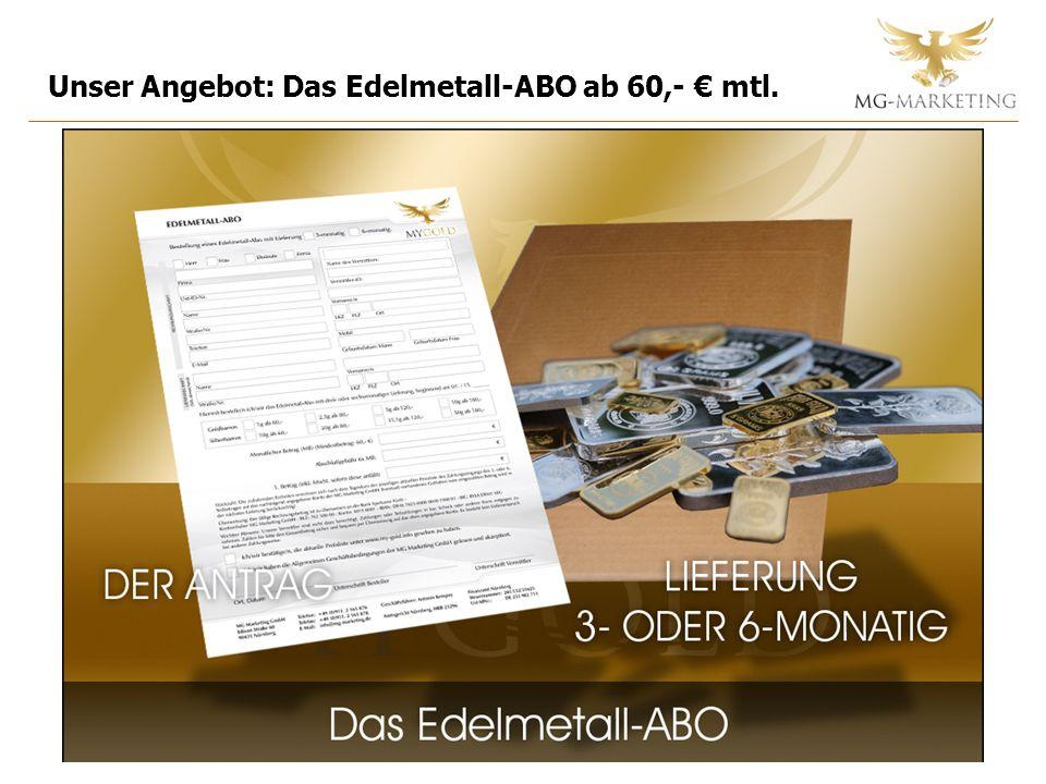 Unser Angebot: Das Edelmetall-ABO ab 60,- mtl.