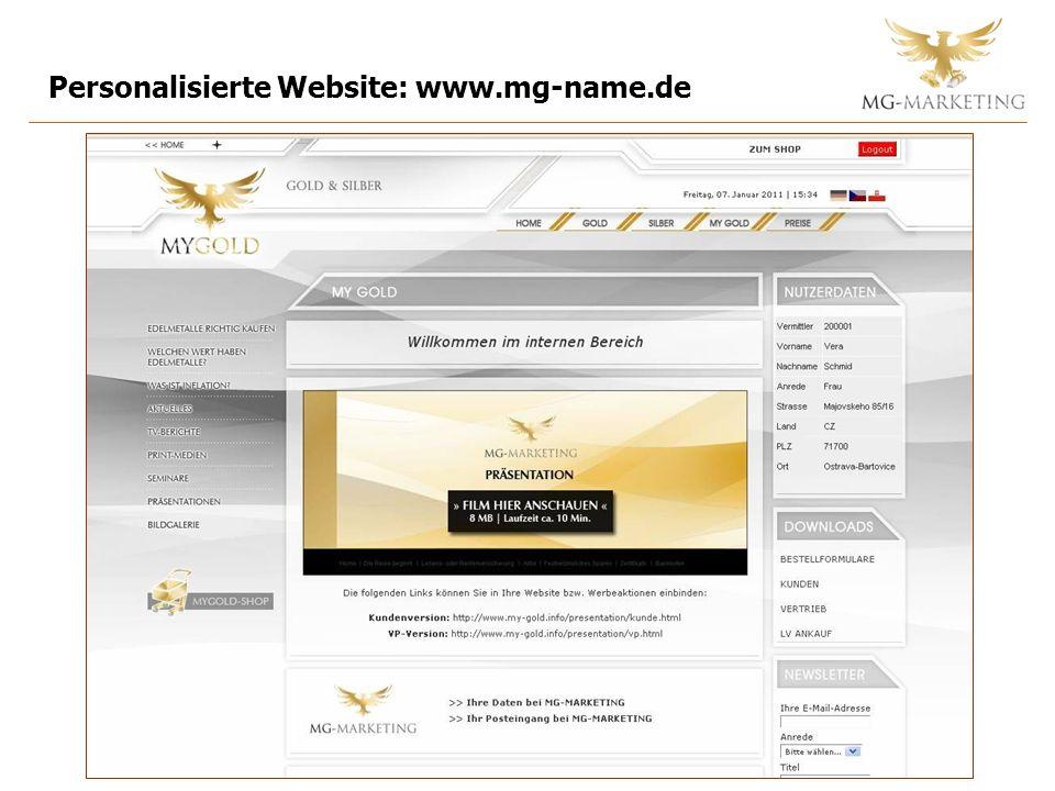 Personalisierte Website: www.mg-name.de