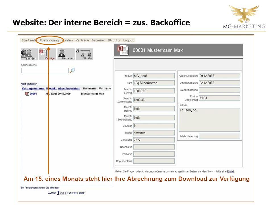 Website: Der interne Bereich = zus. Backoffice Am 15.