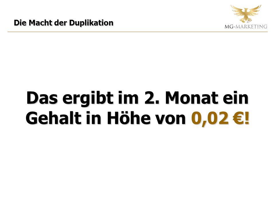 Die Macht der Duplikation Das ergibt im 2. Monat ein Gehalt in Höhe von 0,02 !