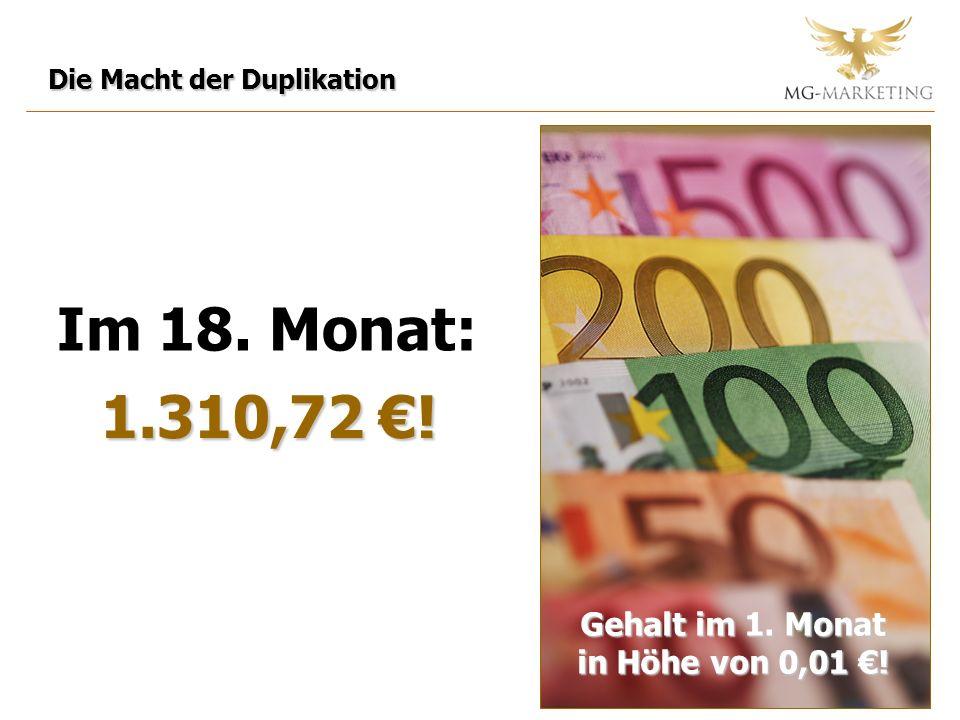 Im 18. Monat: 1.310,72 . Gehalt im 1. Monat in Höhe von 0,01 .