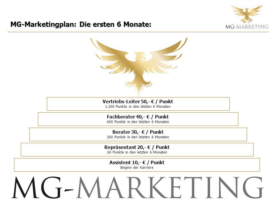 MG-Marketingplan: Die ersten 6 Monate: Fachberater 40,- / Punkt 600 Punkte in den letzten 6 Monaten Berater 30,- / Punkt 300 Punkte in den letzten 6 Monaten Repräsentant 20,- / Punkt 60 Punkte in den letzten 6 Monaten Assistent 10,- / Punkt Beginn der Karriere Vertriebs-Leiter 50,- / Punkt 1.200 Punkte in den letzten 6 Monaten