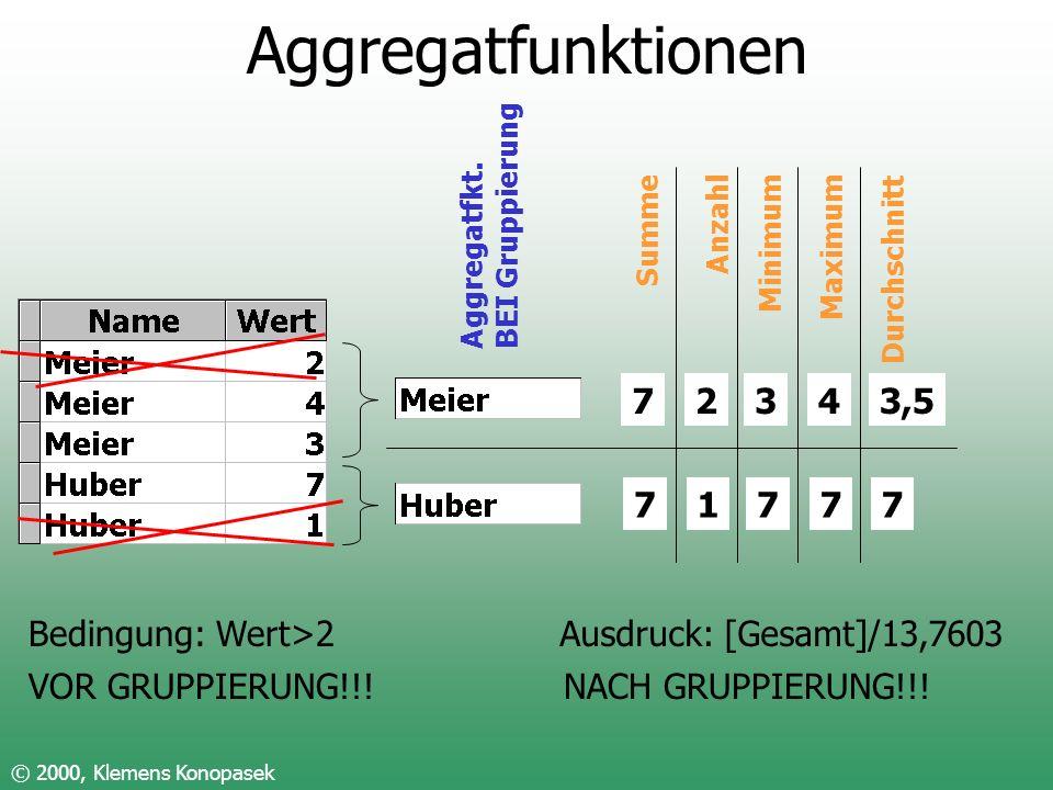 Aggregatfunktionen © 2000, Klemens Konopasek Aggregatfkt. BEI Gruppierung 7 7 Summe 2 1 Anzahl 3 7 Minimum 4 7 Maximum 3,5 7 Durchschnitt Bedingung: W