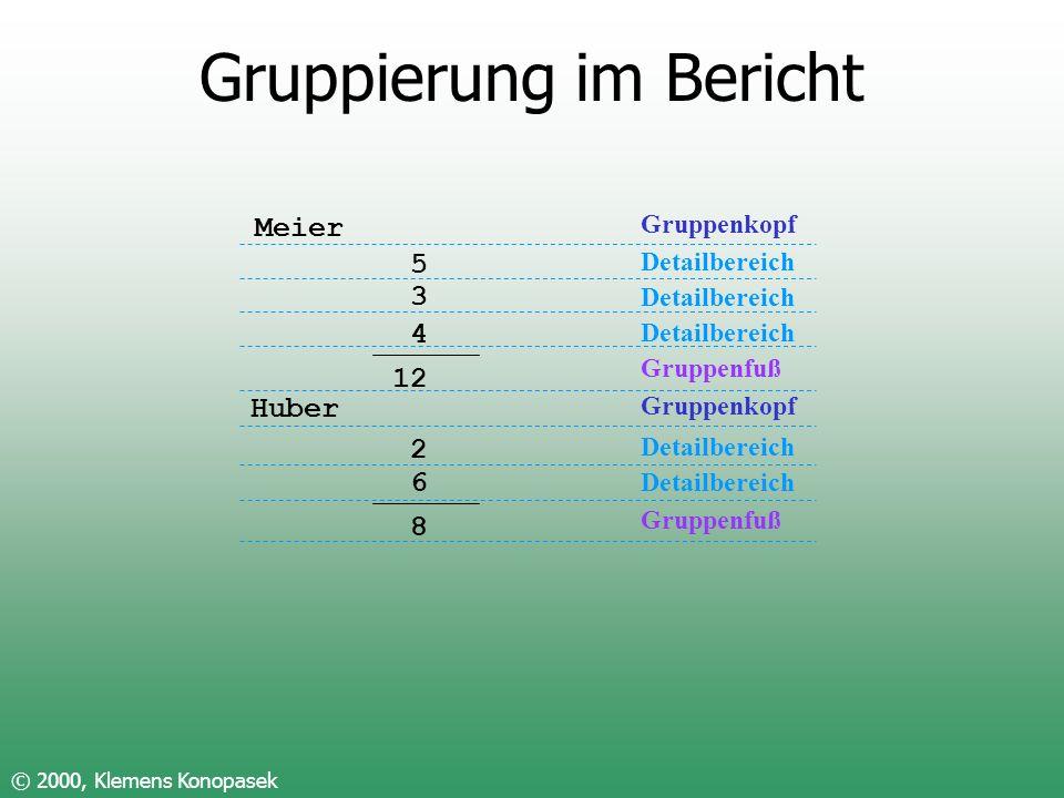 Gruppierung im Bericht © 2000, Klemens Konopasek Meier 5 3 4 12 Huber 2 6 8 Gruppenkopf Detailbereich Gruppenfuß Gruppenkopf Detailbereich Gruppenfuß