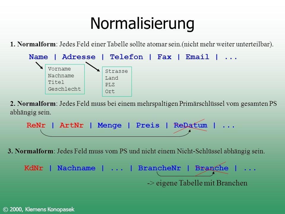 Normalisierung © 2000, Klemens Konopasek 1. Normalform: Jedes Feld einer Tabelle sollte atomar sein.(nicht mehr weiter unterteilbar). Name | Adresse |