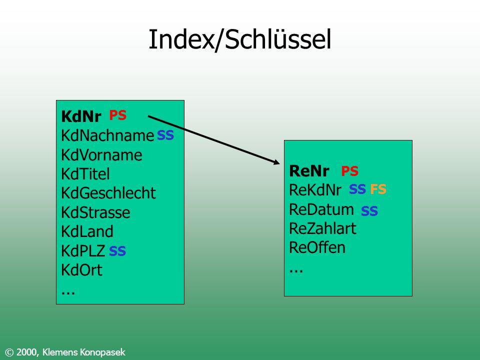 Index/Schlüssel © 2000, Klemens Konopasek KdNr KdNachname KdVorname KdTitel KdGeschlecht KdStrasse KdLand KdPLZ KdOrt... ReNr ReKdNr ReDatum ReZahlart