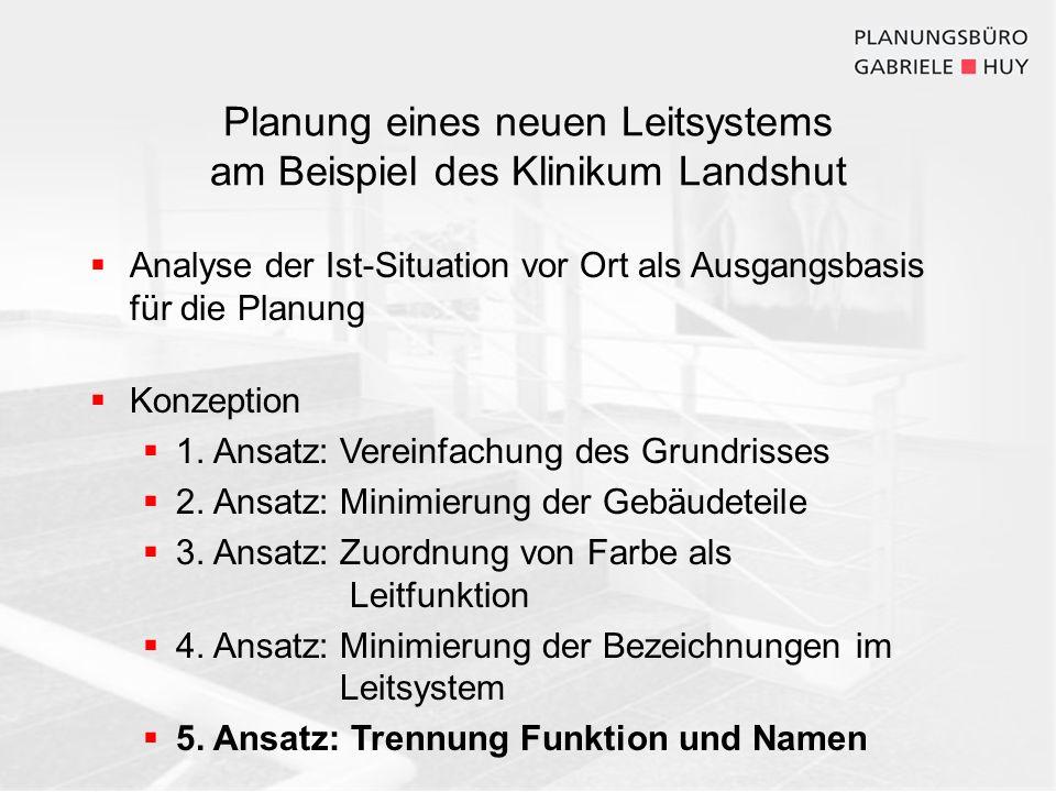 Planung eines neuen Leitsystems am Beispiel des Klinikum Landshut Analyse der Ist-Situation vor Ort als Ausgangsbasis für die Planung Konzeption 1. An