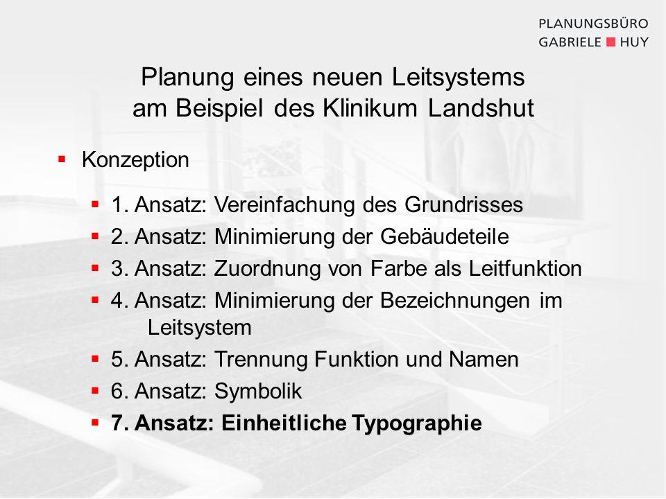 Planung eines neuen Leitsystems am Beispiel des Klinikum Landshut Konzeption 1. Ansatz: Vereinfachung des Grundrisses 2. Ansatz: Minimierung der Gebäu