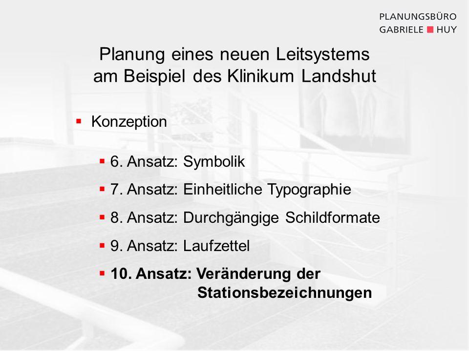 Konzeption 6. Ansatz: Symbolik 7. Ansatz: Einheitliche Typographie 8. Ansatz: Durchgängige Schildformate 9. Ansatz: Laufzettel 10. Ansatz: Veränderung