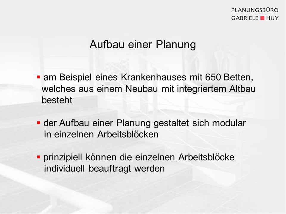 Aufbau einer Planung am Beispiel eines Krankenhauses mit 650 Betten, welches aus einem Neubau mit integriertem Altbau besteht der Aufbau einer Planung