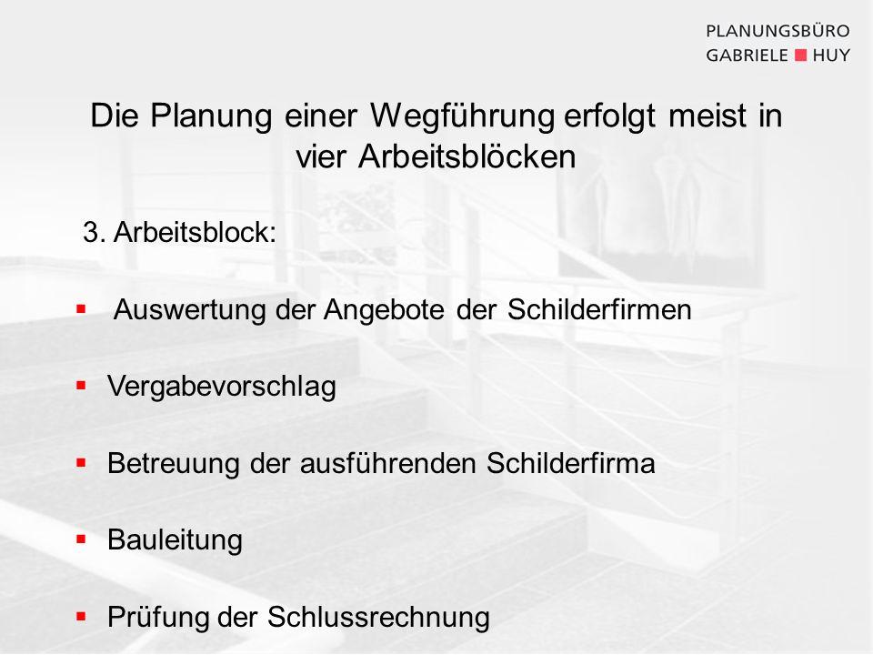 Die Planung einer Wegführung erfolgt meist in vier Arbeitsblöcken 3. Arbeitsblock: Auswertung der Angebote der Schilderfirmen Vergabevorschlag Betreuu