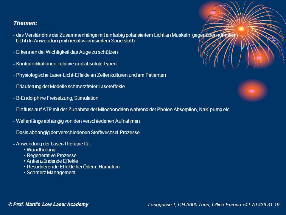 Themen: - das Verständnis der Zusammenhänge mit einfarbig polarisiertem Licht an Muskeln gegenüber normalem Licht (In Anwendung mit negativ- ionisiertem Sauerstoff) - Erkennen der Wichtigkeit das Auge zu schützen - Kontraindikationen, relative und absolute Typen - Physiologische Laser-Licht-Effekte an Zellenkulturen und am Patienten - Erläuterung der Modelle schmerzfreier Lasereffekte - B-Endorphine Freisetzung, Stimulation - Einfluss auf ATP mit der Zunahme der Mitochondrien während der Photon Absorption, NaK-pump etc.