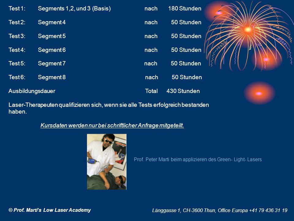 © Prof. Martis Low Laser Academy Länggasse 1, CH-3600 Thun, Office Europa +41 79 436 31 19 Test 1: Segments 1,2, und 3 (Basis) nach 180 Stunden Test 2