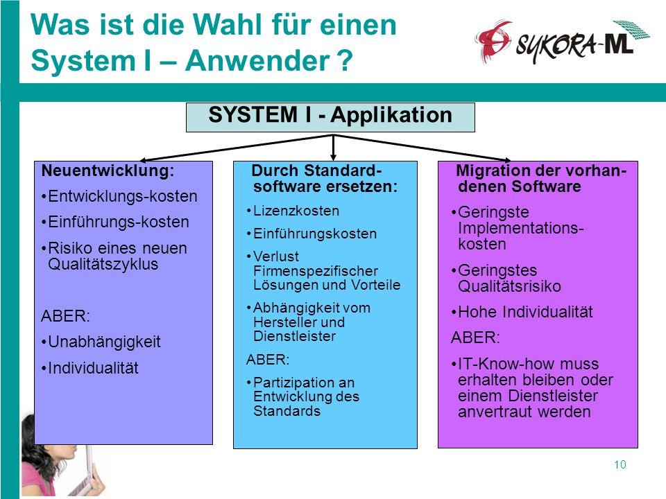 10 Was ist die Wahl für einen System I – Anwender ? SYSTEM I - Applikation Durch Standard- software ersetzen: Lizenzkosten Einführungskosten Verlust F