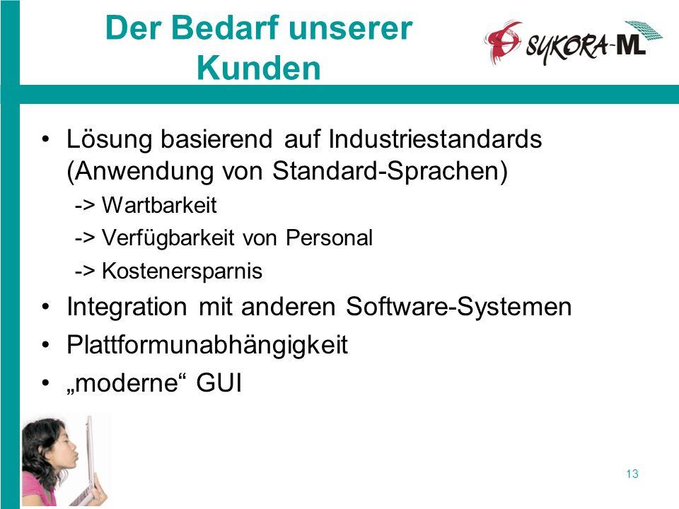 13 Der Bedarf unserer Kunden Lösung basierend auf Industriestandards (Anwendung von Standard-Sprachen) -> Wartbarkeit -> Verfügbarkeit von Personal ->