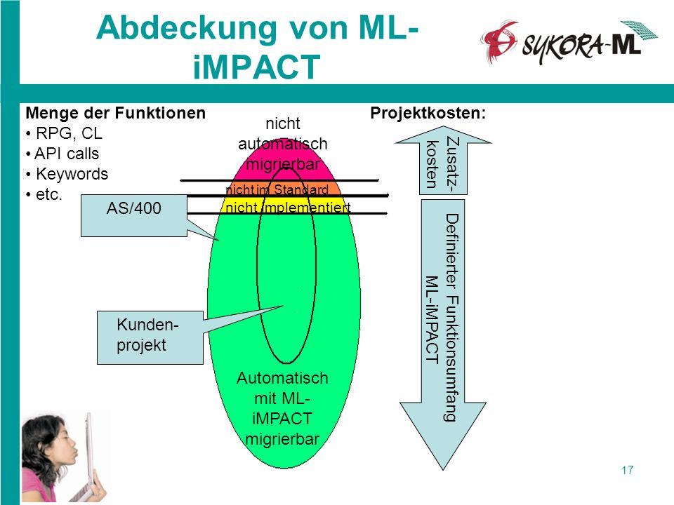 17 Abdeckung von ML- iMPACT AS/400 Automatisch mit ML- iMPACT migrierbar nicht automatisch migrierbar nicht implementiert Projektkosten: Kunden- proje
