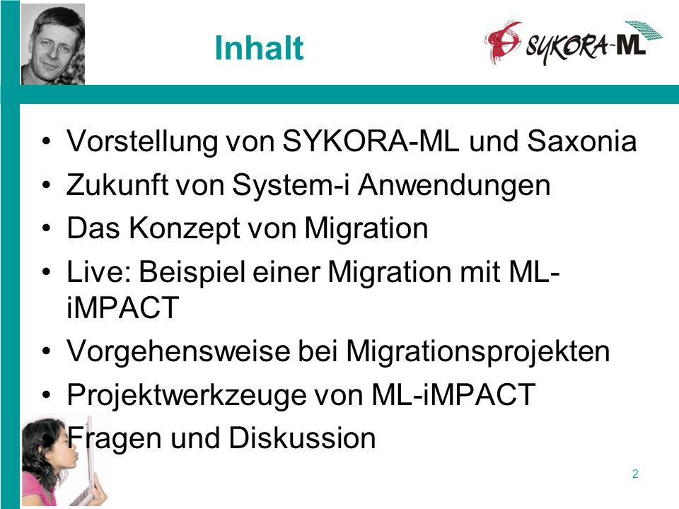 2 Inhalt Vorstellung von SYKORA-ML und Saxonia Zukunft von System-i Anwendungen Das Konzept von Migration Live: Beispiel einer Migration mit ML- iMPAC