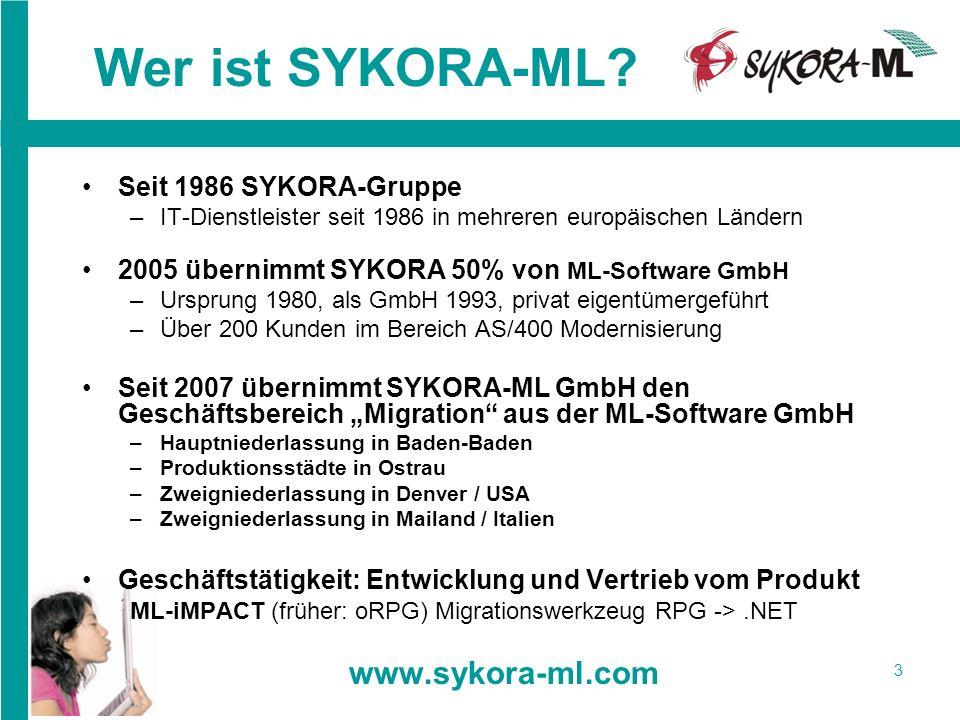 3 Wer ist SYKORA-ML? Seit 1986 SYKORA-Gruppe –IT-Dienstleister seit 1986 in mehreren europäischen Ländern 2005 übernimmt SYKORA 50% von ML-Software Gm