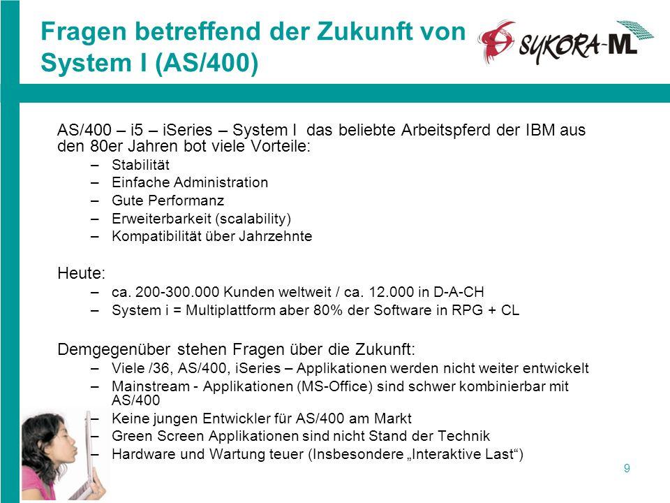 9 Fragen betreffend der Zukunft von System I (AS/400) AS/400 – i5 – iSeries – System I das beliebte Arbeitspferd der IBM aus den 80er Jahren bot viele