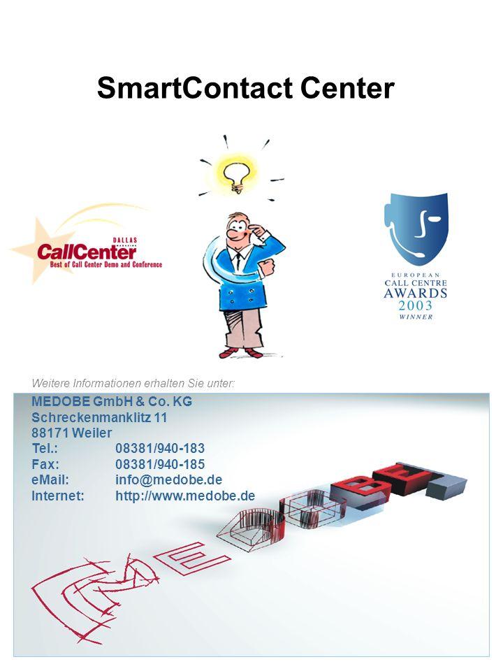 SmartContact Center Weitere Informationen erhalten Sie unter: MEDOBE GmbH & Co. KG Schreckenmanklitz 11 88171 Weiler Tel.:08381/940-183 Fax:08381/940-